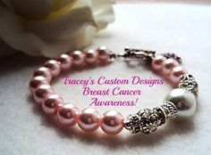 Pale Pink BREAST CANCER AWARENESS Bracelet by TraceysCustomDesigns, $32.99