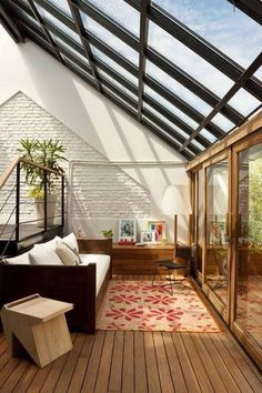 Glass Roof Over The Natural Interior With Wood Floor And Glass Sliding Doors To The Garden #great #architecture