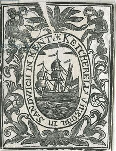 Tobacco label featuring sailing ship and leaf design (woodcut)