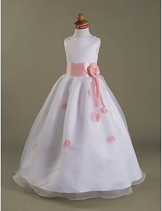 7d1a8602698 Girls Wedding Dresses White Organza A-line Real Picture Flower Girl Gown