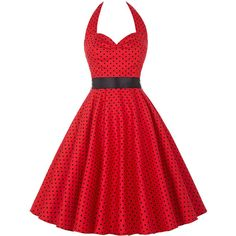 SheIn(sheinside) Red Polka Dot Halter Flare Dress ($19) ❤ liked on Polyvore featuring dresses, polka dot dress, red skater dress, red halter top, a line dress and short-sleeve dresses