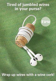Ear buds on a wine cork