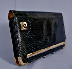 9e245f10fb45 Beautiful Vintage 70s PIERRE CARDIN Exotic Snakeskin Leather Clutch Bag  Handbag