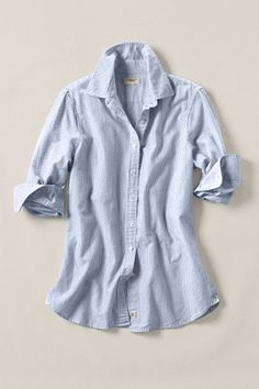 Women's Heritage Striped Oxford Shirt. Got something similar, but it's got buttoning problems. Maybe white linen top instead?