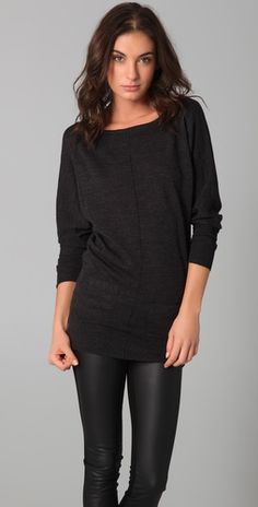 <3 Black tunic and faux leather leggings.