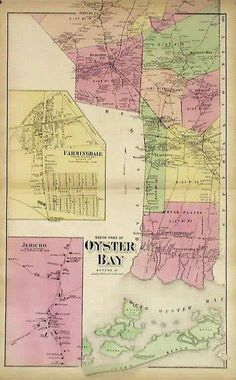Antique Map of Oyster Bay, Farmingdale, Jericho - Long Island, New York