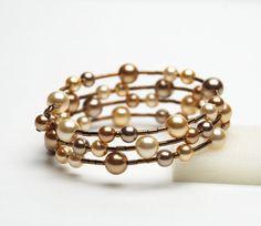 memory wire braclets | Large Wrist Memory Wire Bracelet - Gold Swarovski Pearl Bracelet ...