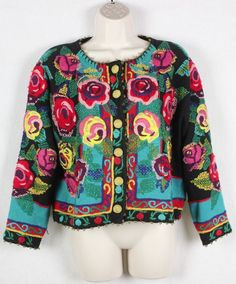 Michael Simon Vtg Women's Sweater Cardigan Embroidered Roses Size M Medium | Одежда, обувь и аксессуары, Одежда для женщин, Свитера | eBay!