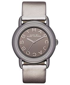 Marc by Marc Jacobs Watch, Women's Metallic Gray Leather Strap 33mm MBM1220 - Marc by Marc Jacobs - Jewelry & Watches - Macy's