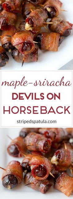 Sweet dates stuffed with blue cheese, wrapped in bacon, and crisped with a Maple-Sriracha glaze. The perfect sweet-savory bite for Game Day and beyond!