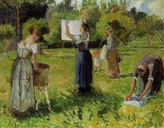 Laundresses at Eragny, c.1901 - Camille Pissarro - WikiArt.org