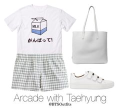 """""""Arcade with Taehyung"""" by btsoutfits ❤ liked on Polyvore featuring J.Crew, Whistles and Prada"""