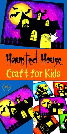 This Haunted House Oil Pastel Craft from Sunshine Whispers is perfect for Halloween! It uses oil pastels and not paint, so it isn't super messy. And even though it looks really complicated, thanks to the FREE Printable craft template, it's actually quite a simple craft, but with a stunning visual effect. Halloween Crafts for Kids #halloween #freeprintables #crafttemplate #halloweencrafts #art #artforkids