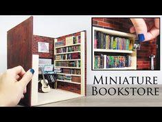 Coisas que Gosto: DIY Miniature Bookstore (shelves, books, brick wal.