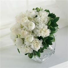 White Rose and Carnation Small Bridal Bouquet by Flower Gainesville - Bridal Bouquet (167.00)