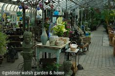 Inside the tropical greenhouse at Goldner Walsh Garden & Home.