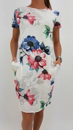Šaty modro červený kvet