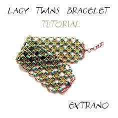 TUTORIAL  Bracelet Twin Superduo   LACY TWINS  di Extrano su Etsy