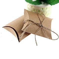 DIY Birth Favor NUOLUX Cuscino di Scatole Portaconfetti 50pz In Carta Kraft Con CORDA DI CANAPA Bomboniere