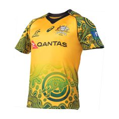 Get your 2018 Australia Wallabies Indigenous Jersey - Mens - Order yours today from Your Jersey. Basketball Kit, Australia Rugby, Football Shirts, Rugby Jerseys, Asics, Shirt Designs, Jersey Designs, Mens Fashion, Mens Tops