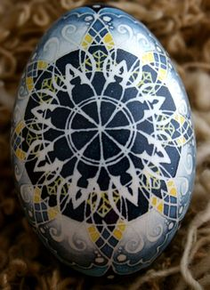 Pysanky Goose Mandala Watercolor Blues and A by DragonflyTrail, $60.00