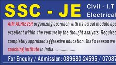 Aim Achiever is the Top Coaching Institute for the SSC JE Coaching in Chandigarh. It gives select coaching classes. Our specific showing staff educates different subjects of SSC JE. Test arrangements are given by us. Practice sets of each theme are given by us. Because of our Result arranged strategies, Aim Achiever is turns into the best instructing foundation for the Best SSC JE Coaching in Chandigarh.