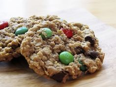 Holiday Monster Cookies ½ cups Butter, Softened 1 cup Sugar 1-¼ cup Packed Brown Sugar 3 whole Large Eggs 1 teaspoon Vanilla Extract 2 teaspoons Baking Soda 1-¼ cup Creamy Peanut Butter 4-½ cups Old Fashioned Rolled Oats ½ cups Sweetened, Flaked Coconut ½ cups Chocolate Chips 1 cup M&Ms, Divided  325 for 10-12 min