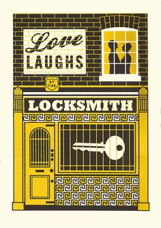 LOCKSMITH screen print by James Brown by JamesBrownPrints on Etsy, £65.00
