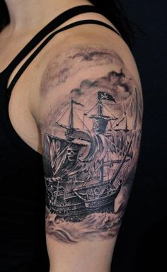 Chronic ink Tattoos, Toronto Tattoo - Pirate ship half sleeve-this is fuckin badass! Ship Tattoo Sleeves, Sleeve Tattoos, Pirate Tattoo Sleeve, Badass Tattoos, Cool Tattoos, Ink Tattoos, Tattoo Marin, Sextant Tattoo, Pirate Ship Tattoos