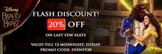 20% Off on Disney's Beauty and the Beast India tickets. Valid till 12 Midnight (May 6th). Promo Code: DISNEY20