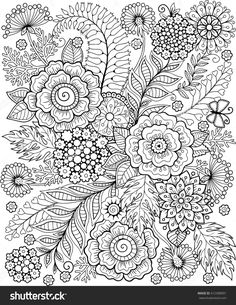Coloring Book For Adults Meditation And Relax Decorative Wild Flowers