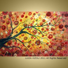 Original Modern Abstract Tree landscape Fall Painting