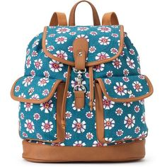 Candie's Chloe Floral Backpack (Blue) ($24) ❤ liked on Polyvore featuring bags, backpacks, blue, drawstring bag, drawstring backpack, backpack, flower print backpack and blue floral backpack