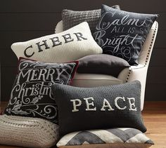 All is Calm All is Bright Pillow Cover   Pottery Barn  winter christmas pillow ideas
