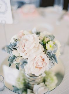 Blush Rose and Dusty Miller Centerpiece | photography by http://thegreatromancephoto.com/