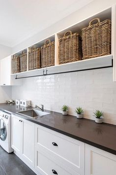 """39 Perfect Laundry Room Designs Ideas For Small Space - OMGHOMEDECOR - Visit our site for even more information on """"laundry room storage diy"""". It is a superb location - Laundry Room Shelves, Farmhouse Laundry Room, Small Laundry Rooms, Laundry Room Organization, Laundry In Bathroom, Laundry Hamper, Laundry Storage, Laundry Drying Racks, Ikea Laundry Room Cabinets"""