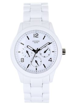 Guess Women's Watch, On Metal With White Rubber Band White Day, Mens Sport Watches, Men's Wardrobe, Classic White, Plastic Case, Rolex Watches, Wrist Watches, Stainless Steel Case, Michael Kors Watch