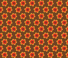 retroflower brown fabric by mofje on Spoonflower - custom fabric Custom Fabric, Spoonflower, Gift Wrapping, Wallpaper, Brown, Prints, Pattern, Color, Design