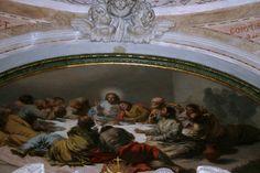 Tres de los cinco lienzos que contiene el oratorio fueron pintados por Goya. Éste, concretamente, corresponde a LA ULTIMA CENA.