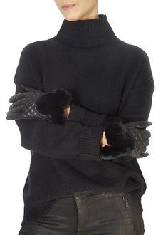 Black Quilted Leather Gloves With Black Fur Trim - Jessimara Green Fur, Khaki Green, Black Quilt, Black Fabric, Fur Pom Pom, Quilted Leather, Leather Gloves, Fur Trim, Shop Now