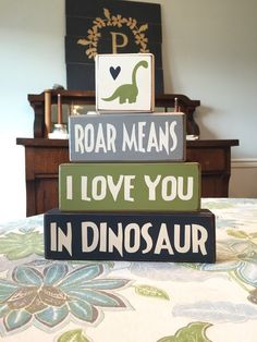 This is the perfect addition to you little Dino lovers room! These blocks would make great decorations at a birthday party or baby shower as