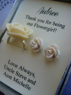 Ask flowergirl junior bridesmaids Rose ring by buysomelove on Etsy, $15.00