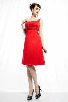 A-line Square Neckline Pleated Bodice Gathered Empire Waistband Satin Cocktail Dress-soc0065,  $159.95