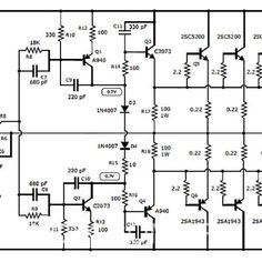 This is the circuit diagram of MOSFET power amplifier. The circuit will give you more than 600 Watt audio output for speakers with impedance of 4 Ohm. Class D Amplifier, Speaker Amplifier, Speakers, Circuit Board Design, Audio Design, Electronic Engineering, Electronic Circuit, Circuit Diagram, Electronics Projects