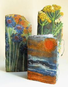 Art Journals by Frances Pickering, textile artist: 'A Group of Journals' all using transfer dye & pelmet vilene for the covers