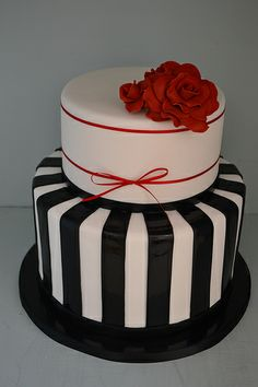 Black, white and Red Wedding cake with Stripes and sugar rose details, made by Miss Ladybird Cakes in Mckinnon, Melbourne