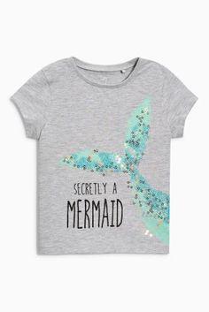 """Купить Серая футболка с надписью """"Mermaid"""" (3 мес.-6 лет) - Покупайте прямо сейчас на сайте Next: Россия"""