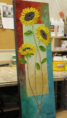 Sunflower Original Abstract Textured Painting Acrylic on