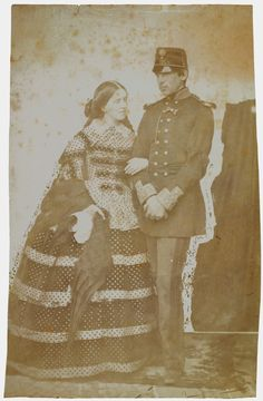"""King Pedro V of Portugal (1837-1861) and Stephanie of Hohenzollern-Sigmaringen, Queen of Portugal (1837-1859) Photo taken by Wenceslau Cifka in 1859 """" The marriage by proxy took place on 29 April 1858..."""