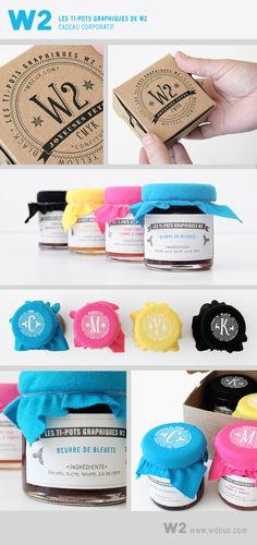 Les TI-POTS GRAPHIQUES de W2 le cadeau corporatif de W2 pour le temps des fêtes. Classic primary colors #packaging PD